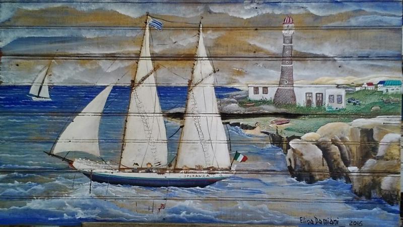 Paisaje maritimo con velero y faro