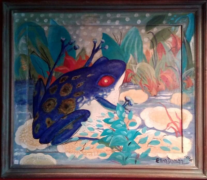 Paisaje abstracto con rana azul